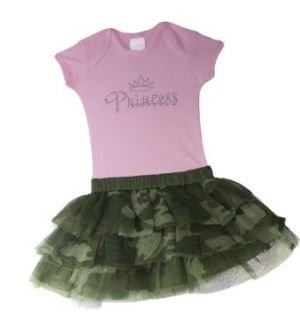 Baby Boutique Baby Girls Camo Tutu Skirt and Princess Onesie , Green/Camouflage Print, 12 months: Clothing