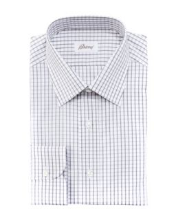 Mens Check Dress Shirt, Gray/White   Brioni   Grey/White (42/16.5L)