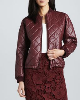 Womens Lena Quilted Faux Leather Jacket   Elizabeth and James   Bordeaux (X