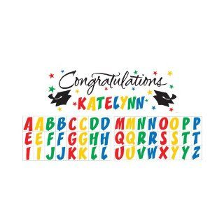 Creative Converting Classic Congratulations with Rainbow Stickers Paper Art Giant Fill In Graduation Party Banner, 60 by 20 Inch: Kitchen & Dining