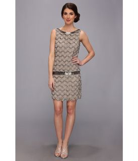 Adrianna Papell Short Bead Blouson Womens Dress (Silver)
