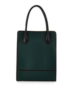 Julia Snakeskin Embossed Leather Tote Bag, Emerald   Gigi New York