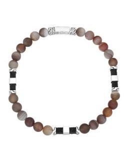 Mens Batu Classic Chain Silver Bead Bracelet in Brown Agate   John Hardy