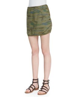 Womens Camo Print Button Trim Miniskirt   Maison Scotch   Multi (1)