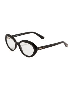 Oval Cat Eye Fashion Glasses, Shiny Black   Tom Ford   Shiny black