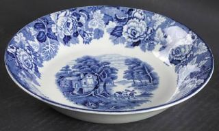 Enoch Wood & Sons English Scenery Blue (Blue Backs,Smooth) Coupe Soup Bowl, Fine