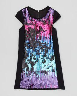 Ombre Sequin Shift Dress, Multi, Sizes 2 6   Zoe