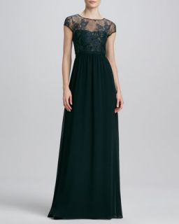 Womens Lace Illusion Bust Gown   Erin by Erin Fetherston   Blk/Iridescent bl