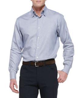 Mens Mini Houndstooth Cotton Shirt, Blue   Brioni   Blue (XXL)