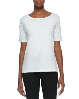 Womens Half Sleeve Jersey Tee, White   Lafayette 148 New York   White (XS)
