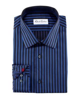 Mens Carter Herringbone Stripe Dress Shirt, Blue/Back   Robert Graham