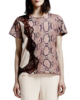 Lace Trim Python Print Tee, Rose/Multi   Stella McCartney