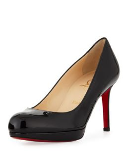 New Simple Patent Platform Red Sole Pump, Black   Christian Louboutin   Black