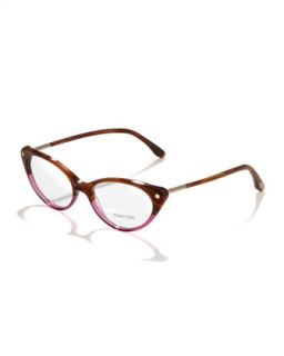 Cat Eye Fashion Glasses, Striped Brown   Tom Ford   Strip bwn/Rse gld