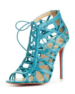Laurence Lace Up Red Sole Cage Sandal   Christian Louboutin   Riviera (37.0B/7.