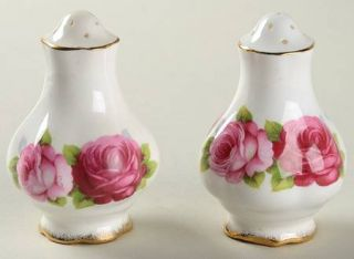 Royal Albert Old English Rose (Brushed Gold Trim) Salt & Pepper Set, Fine China