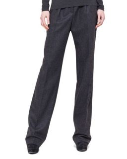Womens Pleated Straight Leg Flannel Pants   Akris   Substrats (44/14)