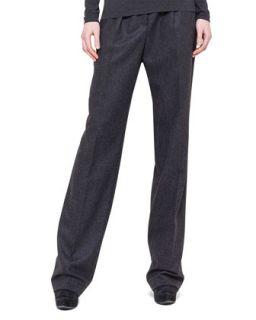 Womens Pleated Straight Leg Flannel Pants   Akris   Substrats (44/14)