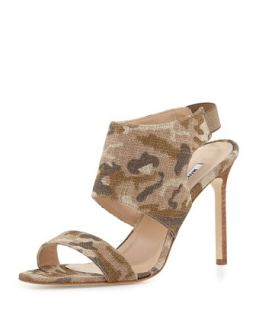 Loyal Linen Canvas Sandal, Camo   Manolo Blahnik   Green (41.0B/11.0B)