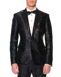 Mens Beverly Hills Camo Jacquard Tuxedo Jacket   Dsquared2   Black (48/38)