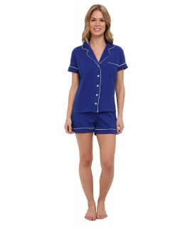 BOTTOMS O.U.T GAL Knit Short Sleeve PJ Set w/ Shorts Womens Pajama Sets (Navy)