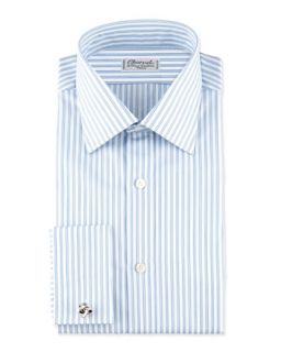 Mens Striped French Cuff Dress Shirt, Blue/White   Charvet   Blue/White (42/16.