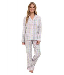 BOTTOMS O.U.T GAL Woven Long Sleeve PJ Set w/ Pants Womens Pajama Sets (White)