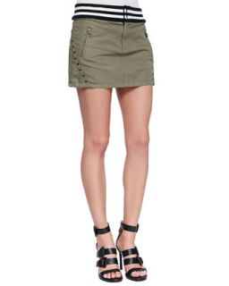 Womens Studded & Striped Miniskirt, Army Green   Pam & Gela   Army green (P)