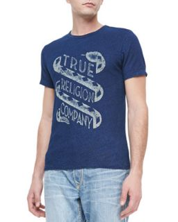 Mens Washed Crewneck Logo Tee, Indigo   True Religion   Indigo (XX LARGE)