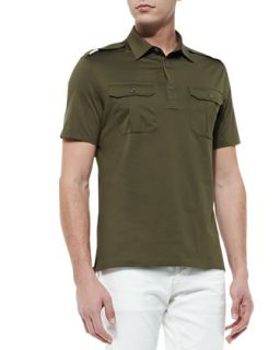 Mens Military Knit Polo, Thicket Moss   Ralph Lauren Black Label   Olive
