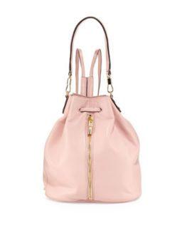 Cynnie Leather Drawstring Backpack, Pink Beach   Elizabeth and James