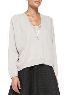 Womens V Neck Cashmere Pochette Sweater   Brunello Cucinelli   Dove (XS/38)
