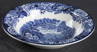 Enoch Wood & Sons English Scenery Blue (Blue Backs,Smooth) Rim Fruit/Dessert (Sa