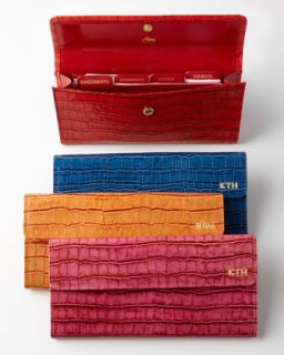 Crocodile Embossed Travel Organizer   Abas   Red