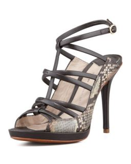 Jims Strappy Snake Sandal, Brown   10 Crosby Derek Lam   Brown (37.5B/7.5B)