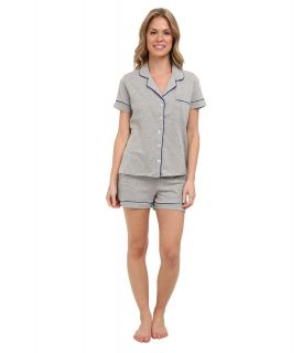 BOTTOMS O.U.T GAL Knit Short Sleeve PJ Set w/ Shorts Womens Pajama Sets (Silver)