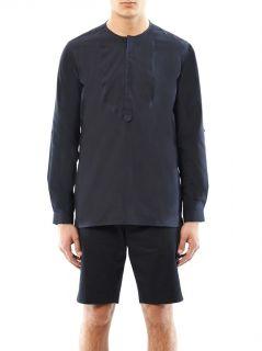Raw edge collarless cotton shirt  Fendi