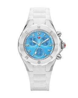 Tahitian Jelly Bean Topaz Bezel Chronograph Watch, Stainless/White/Blue