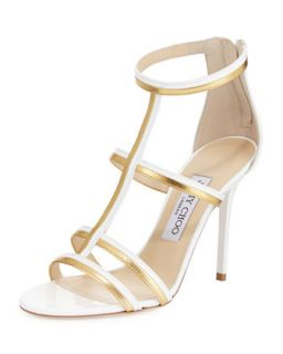 Thistle Patent & Metallic Sandal, White/Gold   Jimmy Choo   White/Gold (9 1/2B)