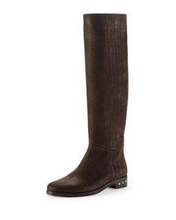 Screw Heel Croc Embossed Knee Boot, Dark Brown   Lanvin   Dark brown (38.0B/8.