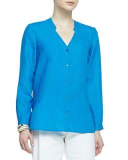 Womens Handkerchief Linen V Neck Shirt, Petite   Eileen Fisher   Atlantis (PL