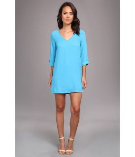 Brigitte Bailey Ellie 3/4 Sleeve Shift V Neck Dress Womens Dress (Blue)
