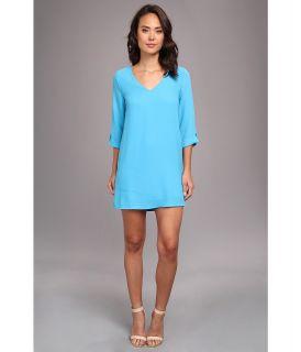 Brigitte Bailey Ellie 3/4 Sleeve Shift V Neck Dress Womens Dress (Blue)