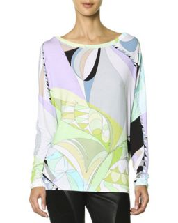Womens Long Sleeve Boat Neck Printed T Shirt, Multicolor   Emilio Pucci