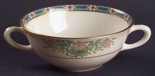 Lenox China Mystic Flat Cream Soup Bowl, Fine China Dinnerware   Multicolor Band
