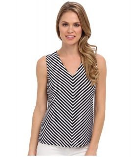 Jones New York V Neck Stripe Shell Womens Sleeveless (Blue)