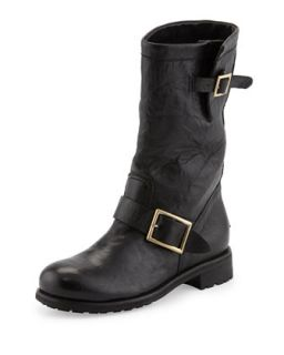Biker Buckled Motorcycle Boot   Jimmy Choo   Black (35.0B/5.0B)