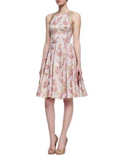 Womens Floral Print Sleeveless Golden Jacquard Dress, Rose Gold   Carmen Marc