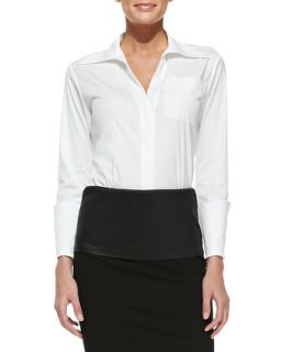 Womens Tailored Menswear Shirt with Long Cuffs   Donna Karan   White (8)