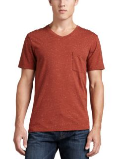 Mens Jersey V Neck Pocket Tee, Red   7 For All Mankind   Ginger red (SMALL)